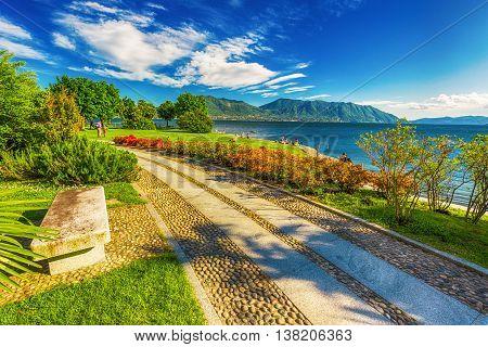 Beautiful promenade along the Lago Maggiore lake near Locarno Switzerland