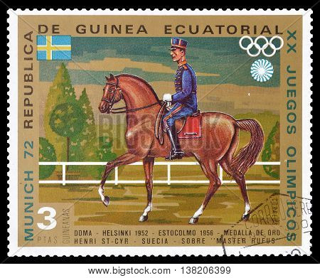 EQUATORIAL GUINEA - CIRCA 1972 : Cancelled postage stamp printed by Equatorial Guinea, that shows Horse jumping.