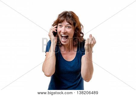 Excited Woman Yelling On Her Mobile Phone