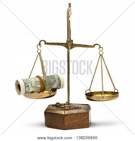 Balance between roll of dollars and gold coin isolated on white background.