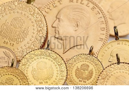 Traditional Turkish Gold Coins Background