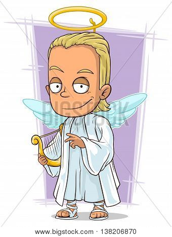 A vector illustration of cartoon attractive young blond angel