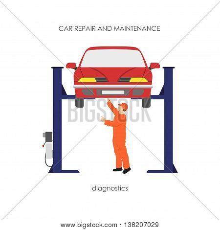 Mechanic produces vehicle diagnostics. The car on the lifting ram. Vector illustration