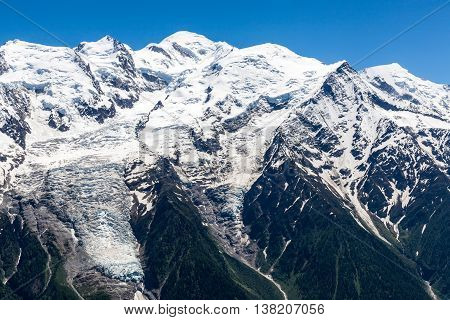 View of Montblanc mountain from Brevent, Chamonix, France