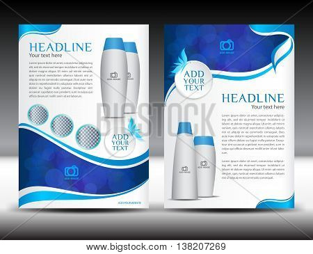 Blue business brochure flyer template design newsletter magazine ads cosmetics advertisement leaflet poster annual report cover template booklet