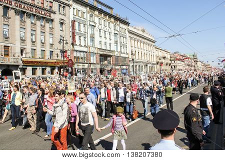 St. Petersburg, Russia - 9 May, Infinite Column people, 9 May, 2016. Memory Action