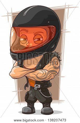 A vector illustration of cartoon cool man in motorcycle helmet