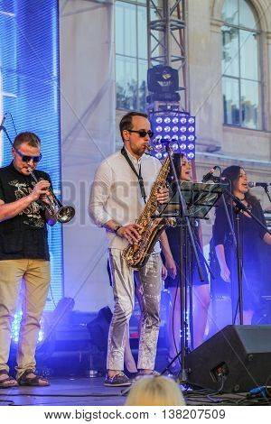 St. Petersburg, Russia - 2 July, The musicians with wind instruments, 2 July, 2016. Annual international festival of jazz and blues in St. Petersburg.