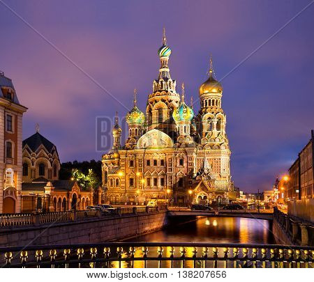 Cathedral of Savior on Spilled Blood in St Petersburg, Russia.