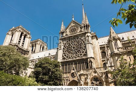 The Notre Dame is a historic Catholic cathedral on the eastern half of the Ile de la Cite in 4th arrondissement of Paris.