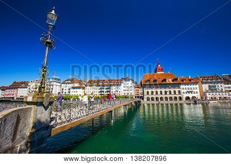 LUCERNE, SWITZERLAND - Mai 5, 2016 - Historic city center of Lucerne with famous Chapel Bridge and lake Lucerne (Vierwaldstattersee), Canton of Lucerne, Switzerland