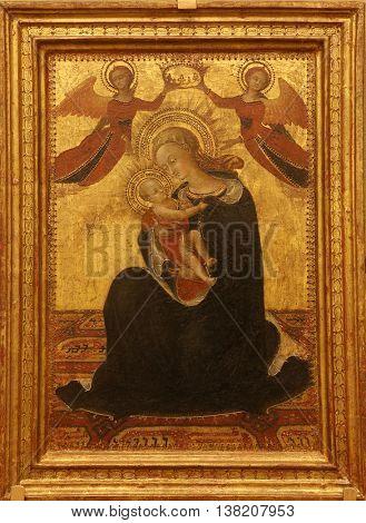 ZAGREB, CROATIA - DECEMBER 08: Sasseta (Stefano di Giovanni di Consolo): Madonna and Child, Old Masters Collection, Croatian Academy of Sciences, December 08, 2014 in Zagreb, Croatia