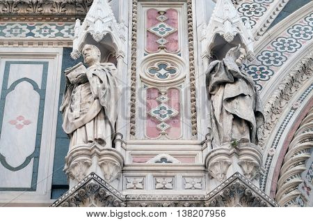 FLORENCE, ITALY - JUNE 05: Popes Callixtus I and Celestine I, Portal of Cattedrale di Santa Maria del Fiore (Cathedral of Saint Mary of the Flower), Florence, Italy on June 05, 2015