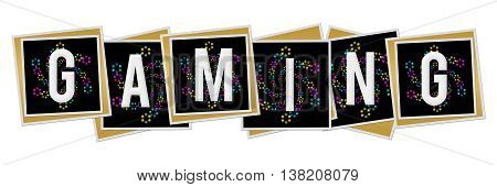 Gaming text alphabets written over black and circle pattern colorful background.
