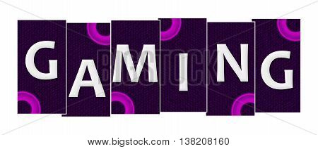 Gaming text alphabets written over purple pink background.
