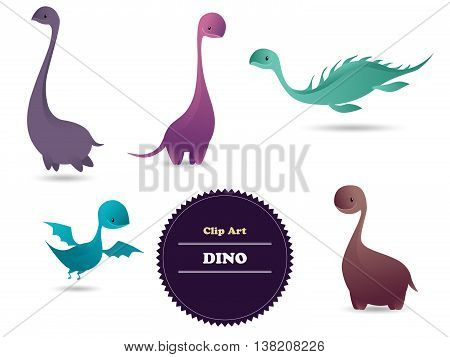 Cute funny lovely dino. Vector illustration. Background