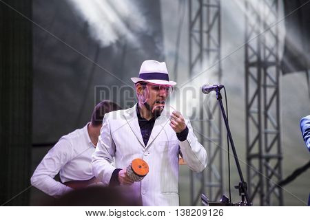 Rimetea (Torocko), Romania - July , 2016: The Pannonia Allstars Ska Orchestra hungarian band performing at the Doublerise festival, the first multi art festival from Transylvania on July 1, 2016