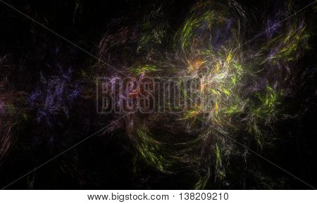 Abstract Wavy Background - Computer-generated Pale Image. Fractal Artwork - Chaos Curves Like Smoke,
