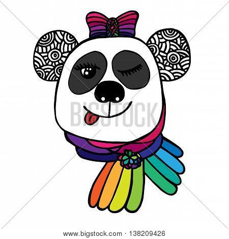 Multicolor head of smile Panda with bow color of rainbow. Sketch for tattoo poster print or t-shirt. Relaxing coloring book for adult and older children.