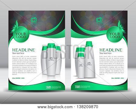 Green business brochure flyer design layout template in A4 size magazine ads cosmetics catalog Poster newsletter advertisement leaflet annual report cover design