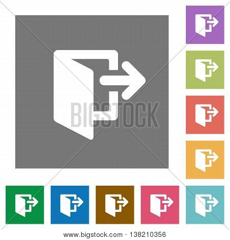 Exit flat icon set on color square background.
