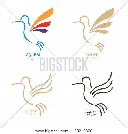 colibri mark. Abstract bird illustration. Design element for logo label emblem sign.