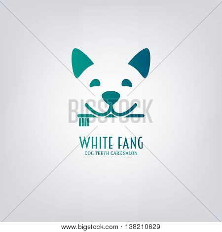 Dog with toothbrush. Animal teeth care salon. Design element for logo label emblem sign.