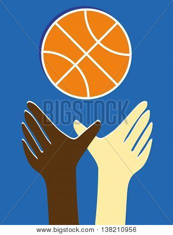 Brown and white hands reaching up for a stylized orange basketball against a blue background