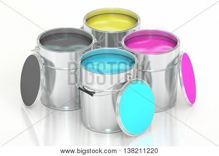 Cans with color paint CMYK concept. 3D rendering isolated on white background