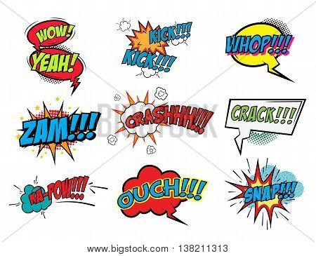 Set of comic style phrases. Zam Crash Crack Snap Whop. Vector illustrations.