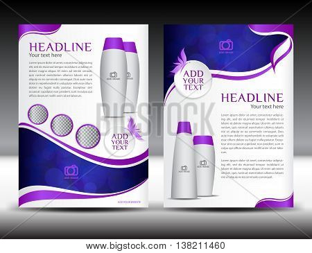Purple business brochure flyer template design newsletter magazine ads cosmetics catalog advertisement leaflet poster annual report cover template booklet