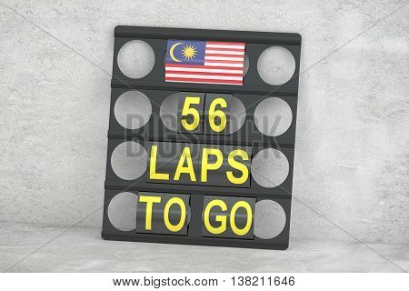 Kuala Lumpur racing pit board with flag of Malaysia 3D rendering