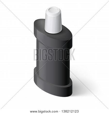 Black Isometric Bottle of Mouthwash. Illustration on White