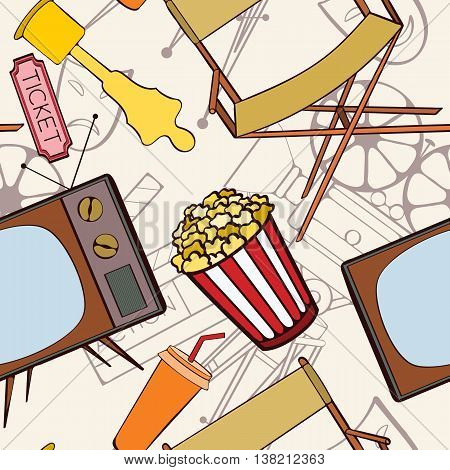 Seamless cinema pattern can be used for wallpaper, website background, wrapping paper. Cinema vector bright pattern. Film design. Movie concept.