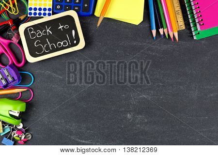 Back To School Chalkboard Tag With School Supplies Corner Border On Blackboard Background
