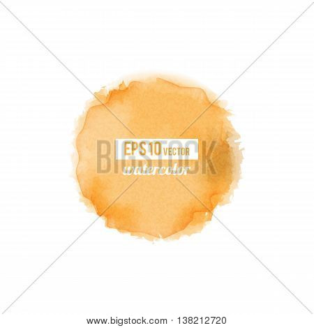 Orange watercolor-like fully vector round stain isolated on white background. Stain can be used for wallpaper, website background, wrapping paper and so on. Watercolor design.
