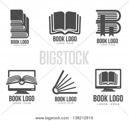Set of black and white book logo designs, vector illustration isolated on white background. Book logo templates for schools universities colleges websites and educational programs