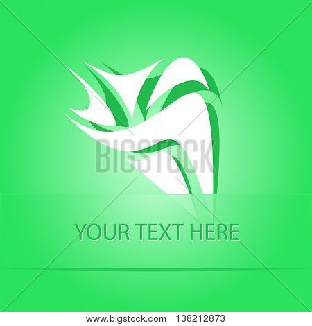 unique abstract forms. Paper green sticker as bookmark. Vector illustration.
