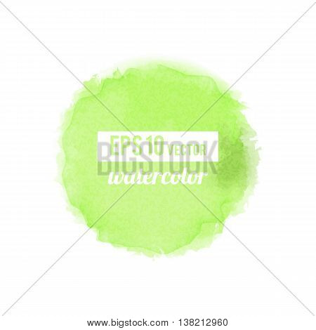 Green watercolor-like fully vector round stain isolated on white background. Stain can be used for wallpaper, website background, wrapping paper and so on. Watercolor design.