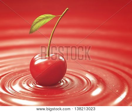 3D illustration. Cherry on cherry jam. Clipping path included.