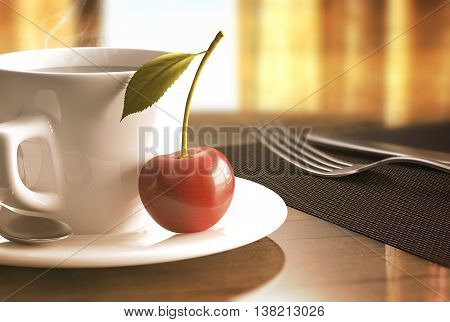 3D illustration. Concept of a breakfast with a cherry beside a cup of coffee.