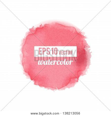 Red watercolor-like fully vector round stain isolated on white background. Stain can be used for wallpaper, website background, wrapping paper and so on. Watercolor design.