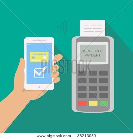 Mobile payment via smartphone. Human hand holds mobile phone with nfc to do contactless payment. Flat concept