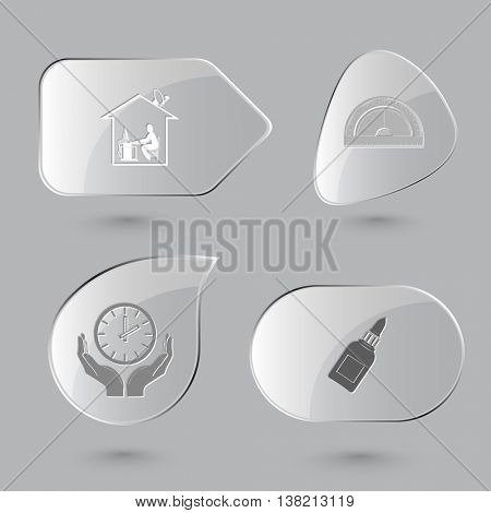 4 images: home work, protractor, clock in human hands, glue bottle. Education set. Glass buttons on gray background. Vector icons.