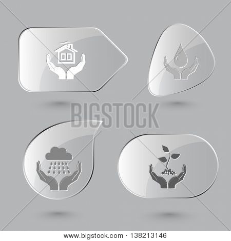 4 images: home in hands, protection blood, weather, plant. In hands set. Glass buttons on gray background. Vector icons.