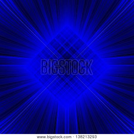 3D illustration. Pattern with radial rays and concentric circles. The three-dimensional luminous psychedelic space. Regular pattern.