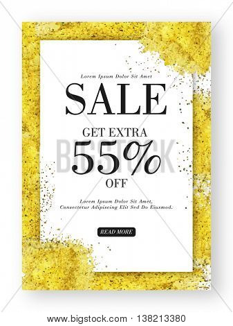 Sale Poster, Banner or Flyer design with Extra 55% Off, Creative glittering background, Vector illustration.