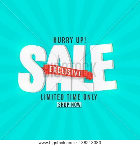 Exclusive Sale for Limited Time Only, 3D Typographical Background with ribbon, Creative Poster, Banner or Flyer design, Vector illustration.