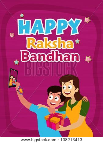 Cute Brother and Sister taking selfie together, Beautiful Greeting Card design with colourful text Happy Raksha Bandhan, Concept for Indian Traditional Festival celebration.