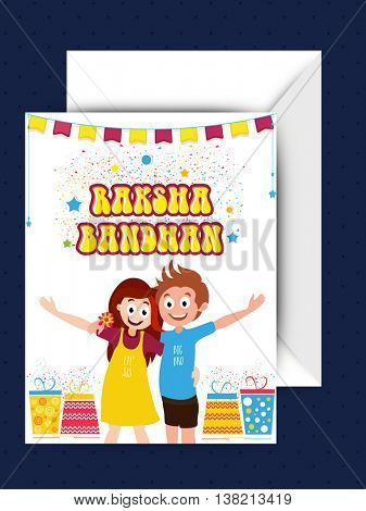 Elegant Greeting Card with Envelope, Creative illustration of cute little brother and sister enjoying on occasion of Raksha Bandhan Festival celebration.